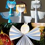 Ангелы из бумаги (игрушка на ёлку) своими руками