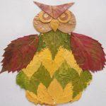 Поделки-аппликации из осенних листьев для детей