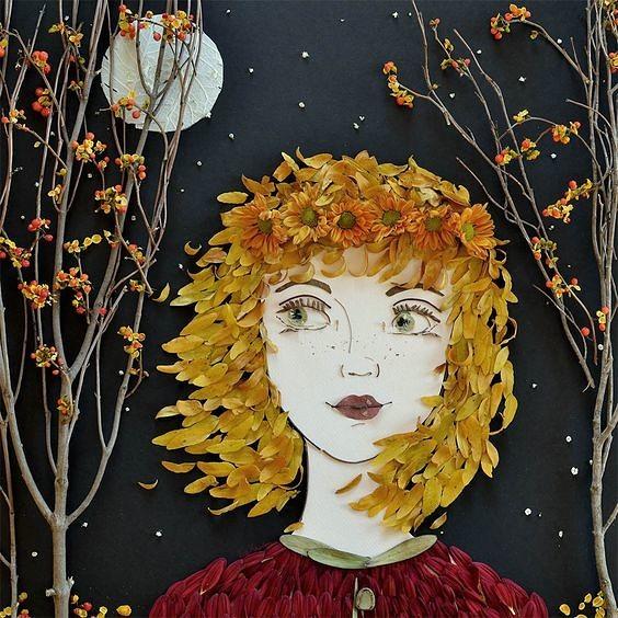 Аппликация портрет из листьев