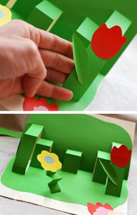 3-д открытка полянка с цветами к 8 марта своими руками, про