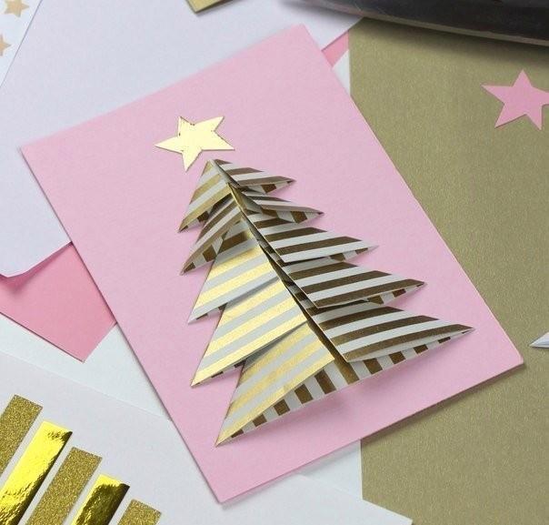 Сердце, открытка елка из картона