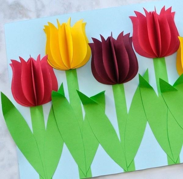 Объемная аппликация цветы открытки, мая день
