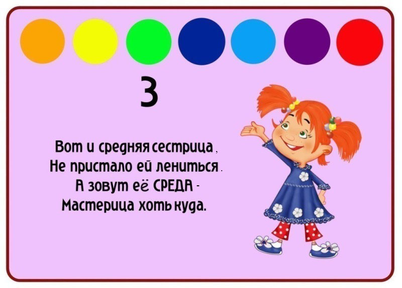 Картинки про дни недели для детей 4-5 лет, днем