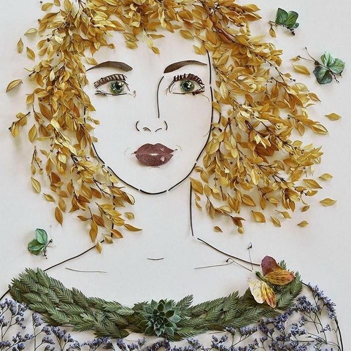 июле власти портрет из листьев картинки бюст