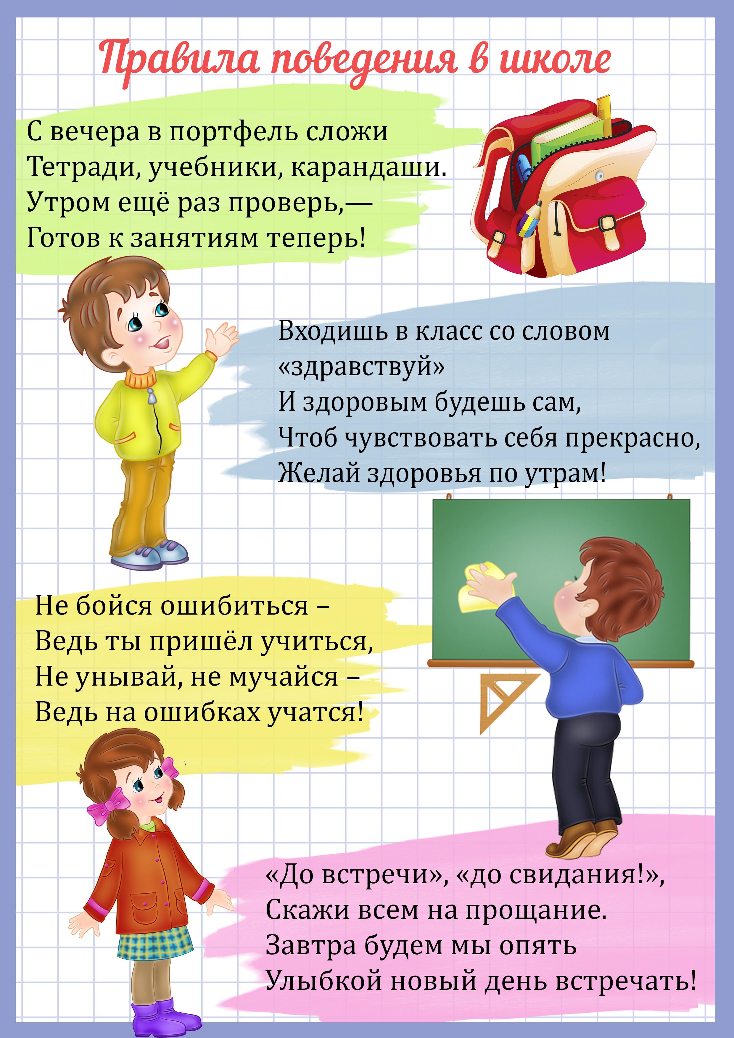 Правила поведения учеников на уроке в картинках