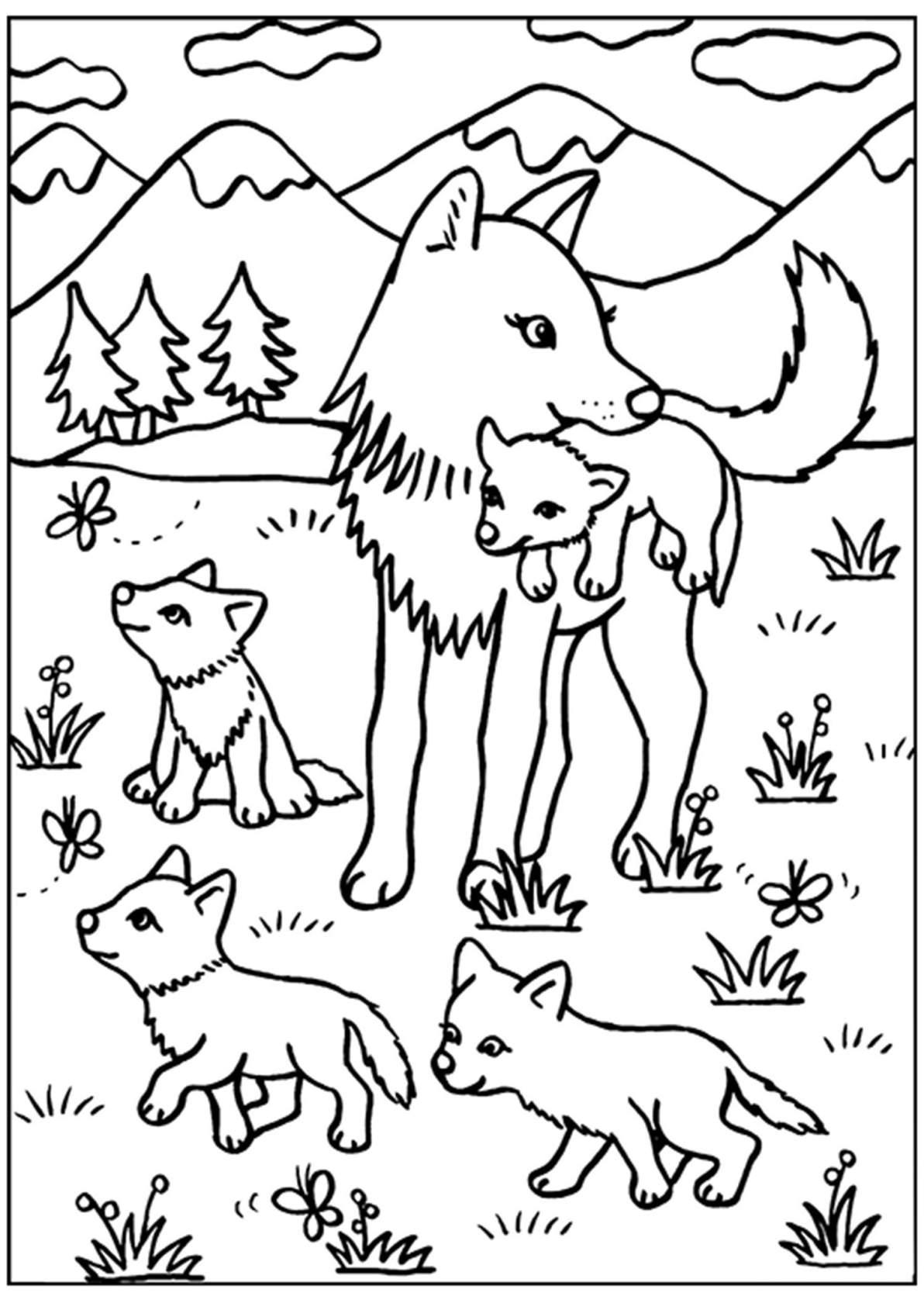 """Раскраски """"Животные и их детеныши"""""""
