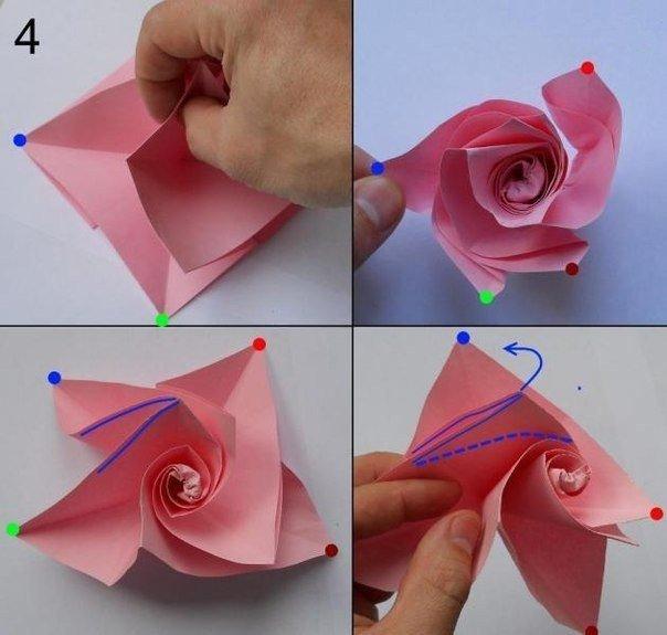 Как сделать объемную розу из бумаги фото 708