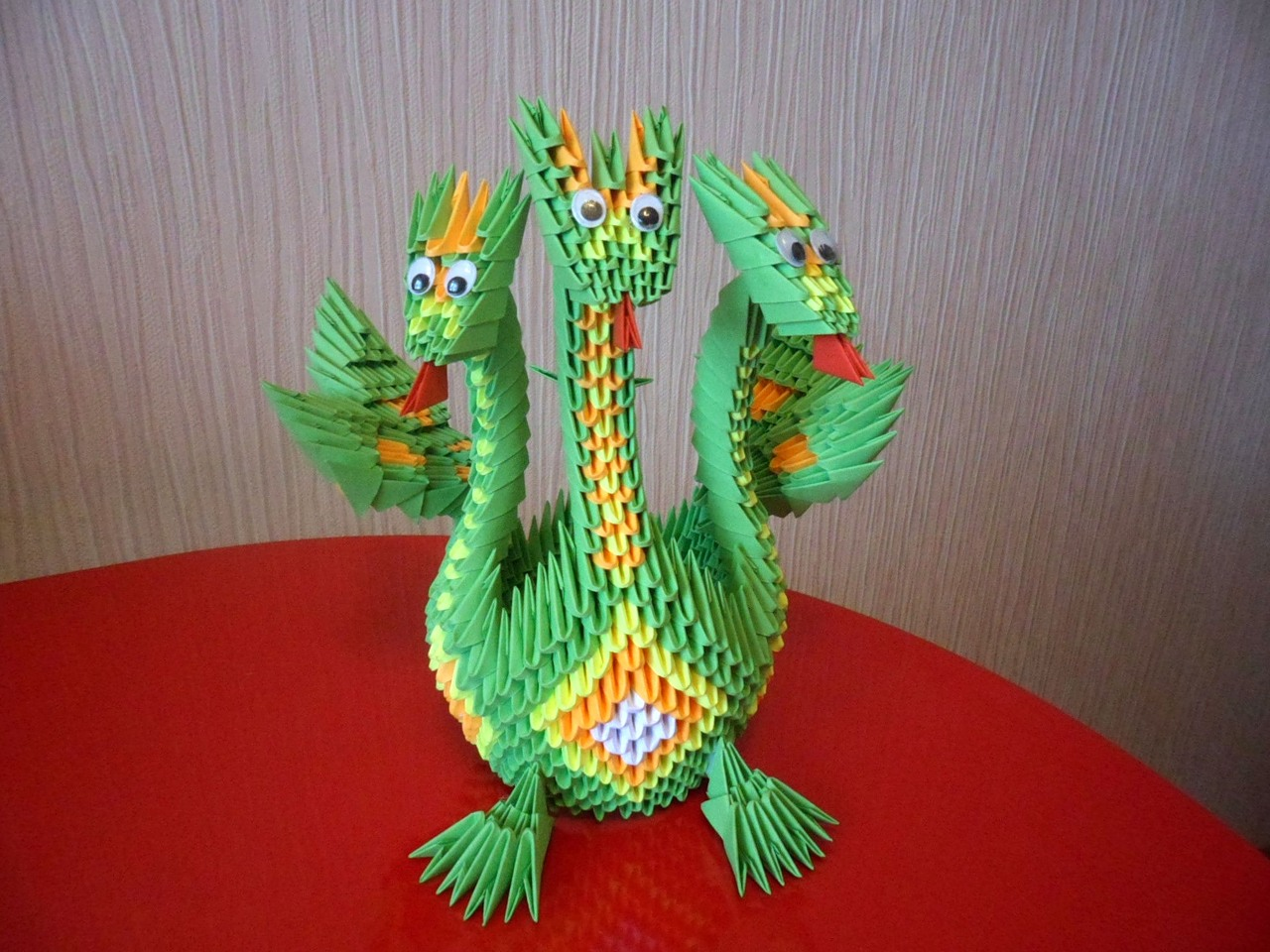 Оригами лебедь двойной из треугольных модулей схема фото 494