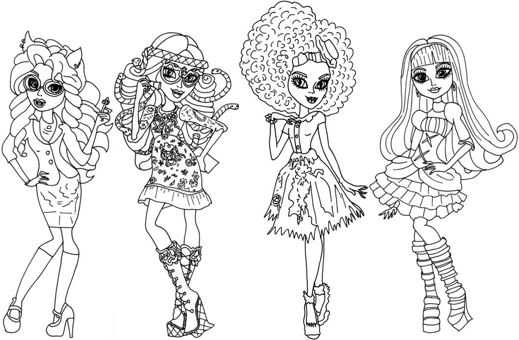 Раскраски для девочек монстры хай распечатать